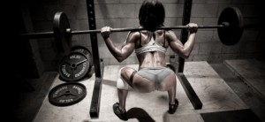 fitness girl squatting