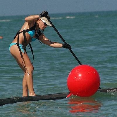 Helga paddling SUP