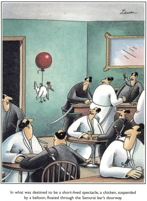 I put this cartoon here because the Far Side is damn funny.
